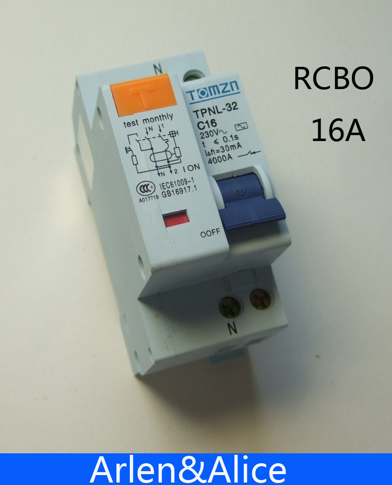DPNL 1P+N 16A 230V~ 50HZ/60HZ Residual current Circuit breaker with over current and Leakage protection RCBO dpnl 1p n 32a 230v 50hz 60hz residual current circuit breaker with over current and leakage protection rcbo