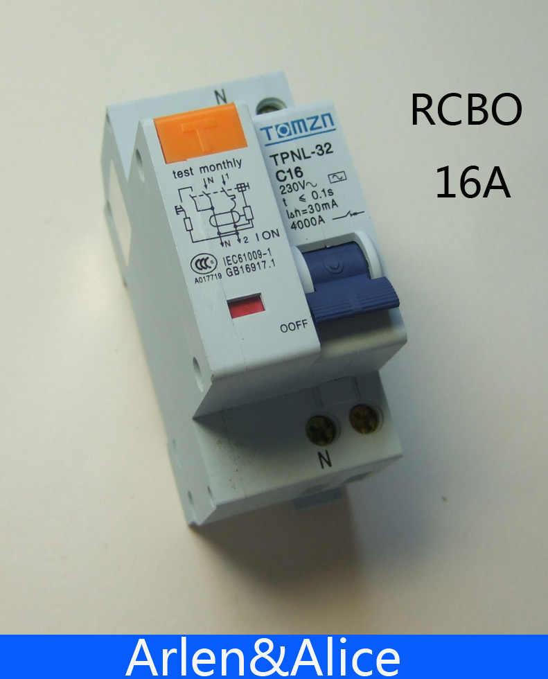 Interruptor de corriente Residual DPNL 1P + N 16A 230V ~ 50 HZ/60 HZ con protección contra sobrecorriente y fugas RCBO