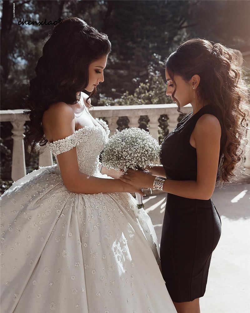 2019 חדש לבן חתונה שמלת 3D פרח כבוי כתף שרוולים באורך רצפת חתונת שמלות כלה שמלות Vestido de noiva