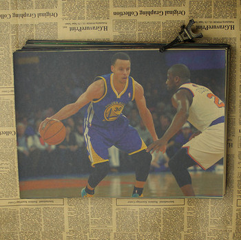 Figure NBA basketball star Stephen curry poster warriors retro photo wall stickers decorative painting paper 2