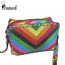 Luxury Rainbow stripes PU leather messenger bag Rivet Flap bags Fashion summer leather bag female shoulder bag WLHB1536