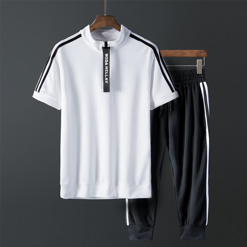 Summer Mens Casual 2Pcs Sportswear Mens Set Webbing Zipper Strench Breathable Tracksuit Tee Shirt + Sportpants  Comfortable Suit