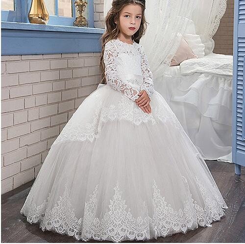 White Lace Pageant Dresses For Girls Long Sleeves Lace Up Ball Gown With Bow Sashes Birthday Party Gown Flower Girl Dresses