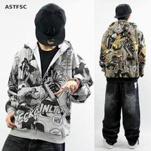 New Fashion Hiphop Men Hoodie Zip Casualn Coat Scrawl Print Loose Hoodies Dance The Assassins Hoodie