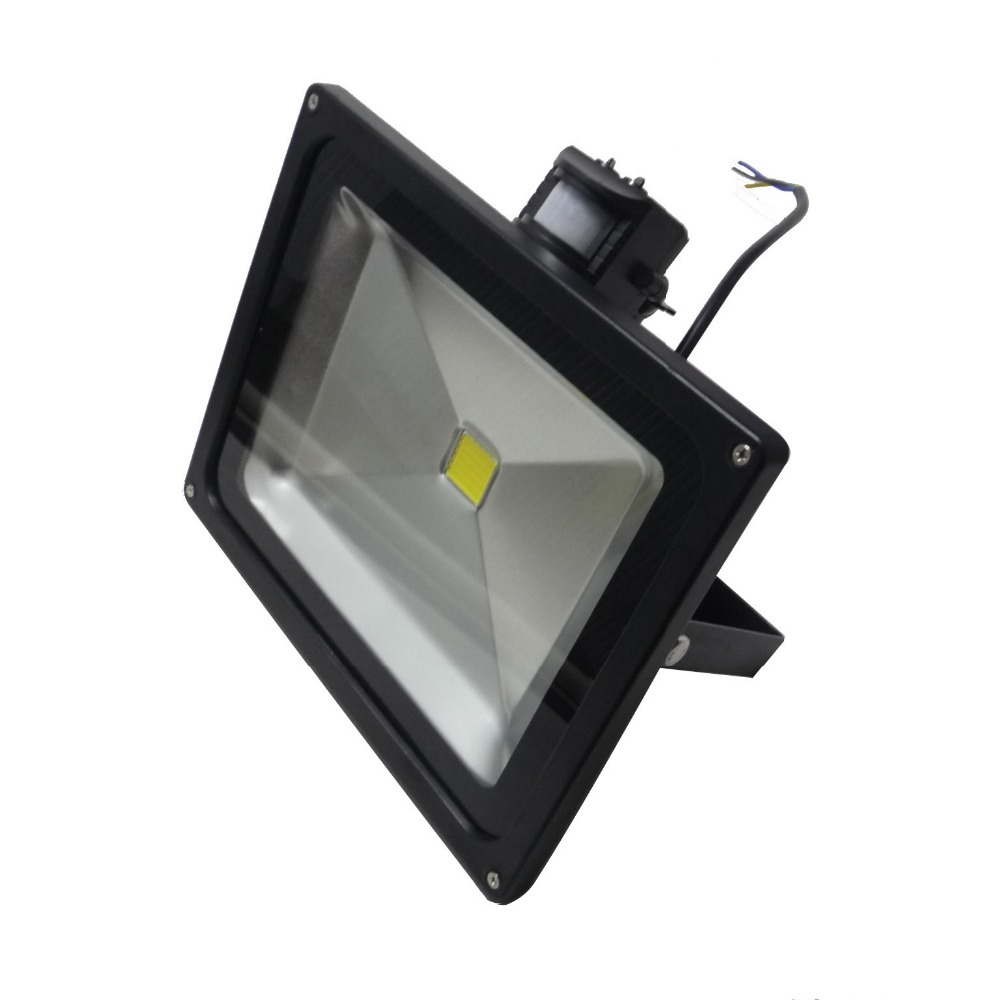 IR Sensor 50W LED Flood Light IP65 Waterproof AC85-265V Input Black Color
