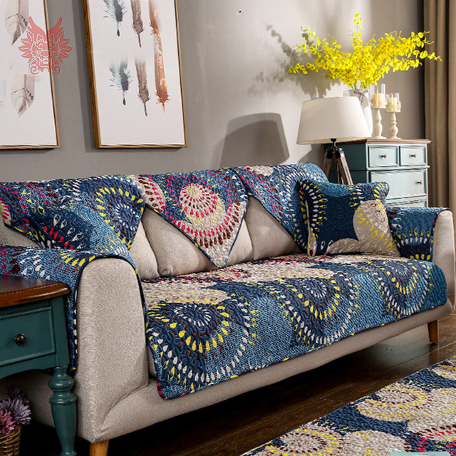 Pastoral Style Boho Floral Print Quilted Sofa Cover Pure Cotton Slipcovers  Anti Slip Sofa Covers