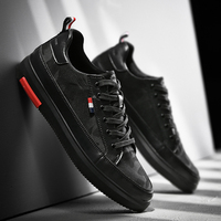 SUROM Luxury Brand Casual Men Shoes Leather Lace Up Fashion Classic Black White Sneakers Men Mesh Breathable Zapatos De Hombre