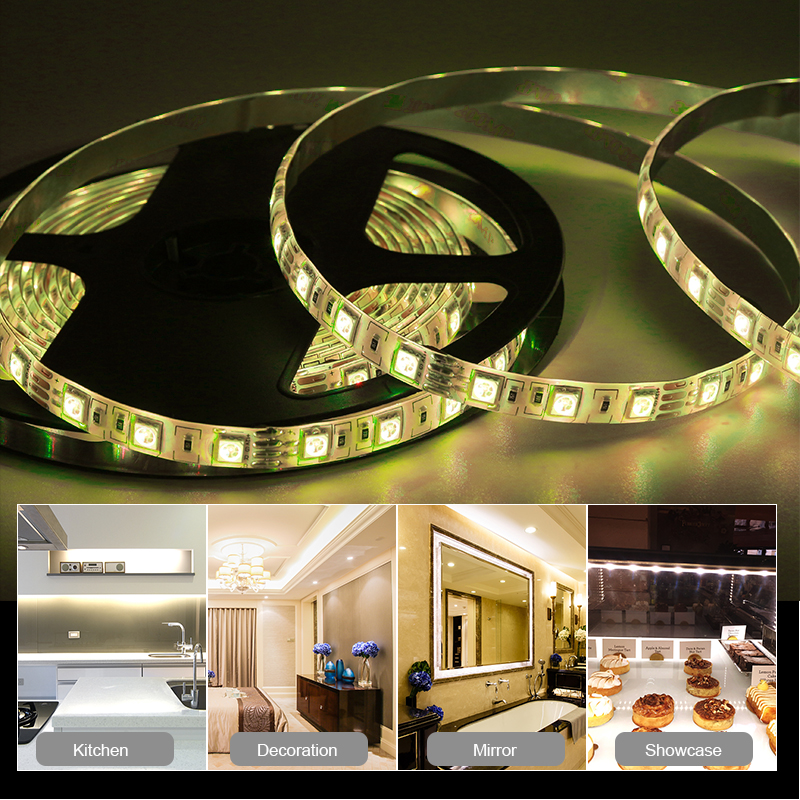 5m DC5V Key Switch Controlled RGB LED Strip With Adapter Waterproof Flexible SMD5050 LED Light For Backlight Wardrobe Lightning in LED Strips from Lights Lighting