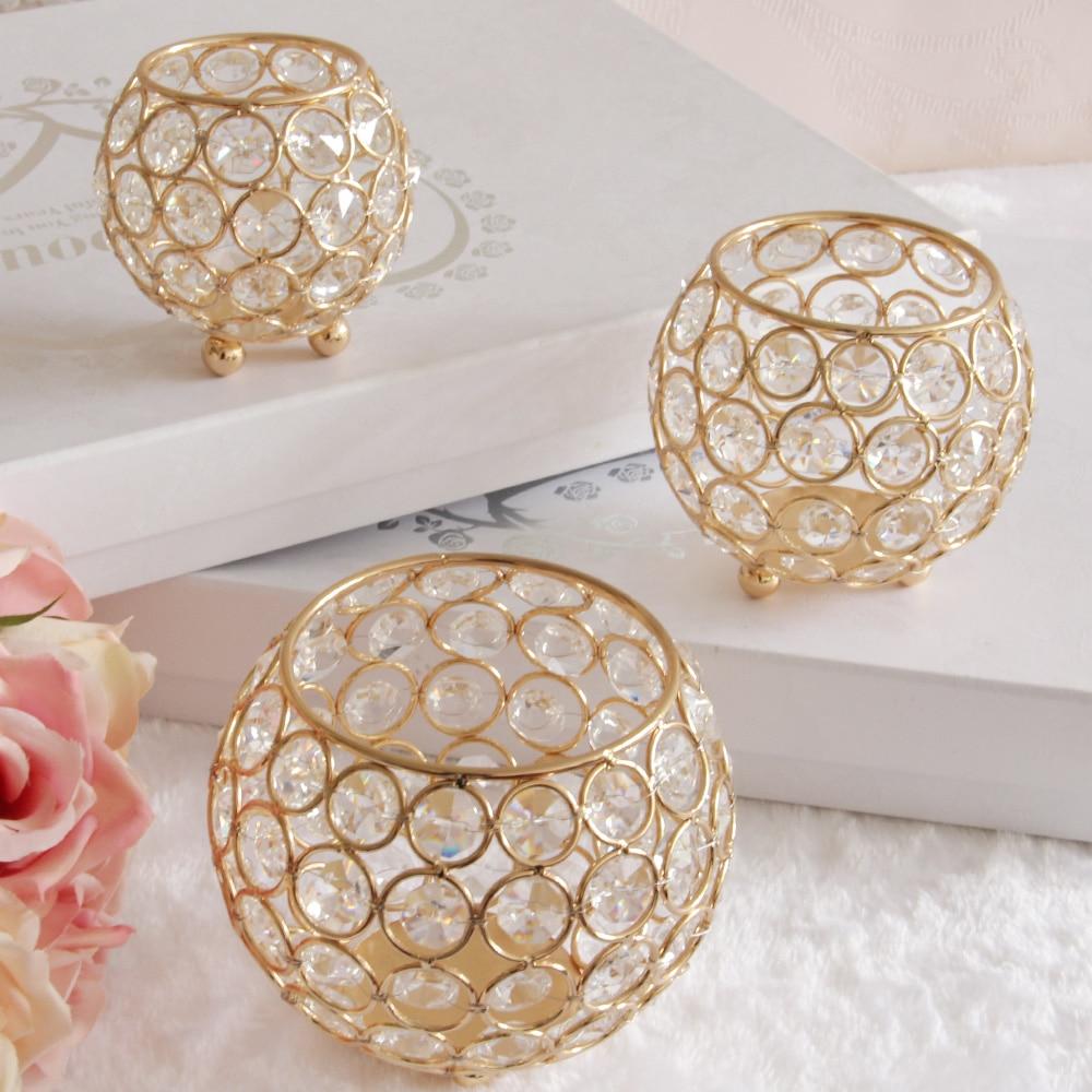 Décor à la maison en métal or cristal bol bougeoir maroc bougie lanterne pour mariage candélabres centres de table conteneur à crayons