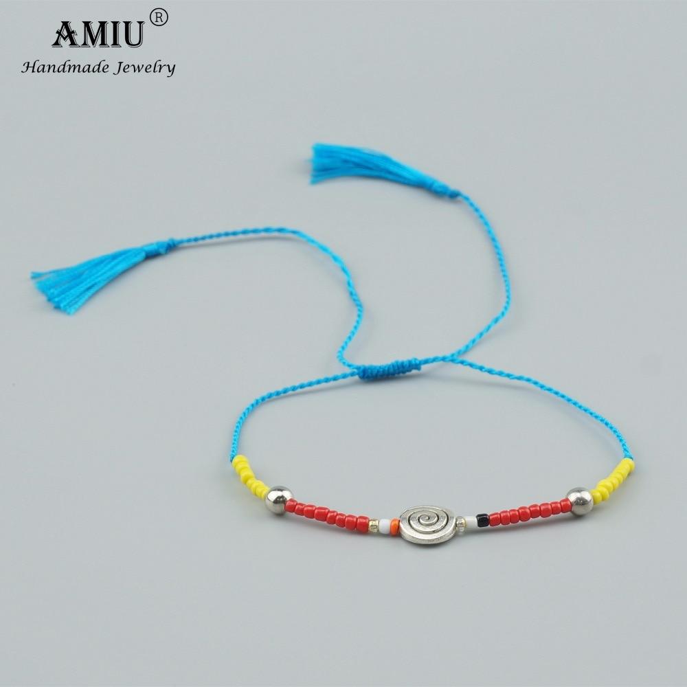 AMIU Handmade Friendship Bracelet Hippy Colorful Love Vintage Love Lucky Bracelets & Bangles For Women Men Shell Tassel Bracelet