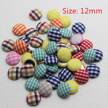 100pcs/lot Mix colors 12mm Button tartan printed fabric covered round button flat back cabochon for DIY scrapbooking