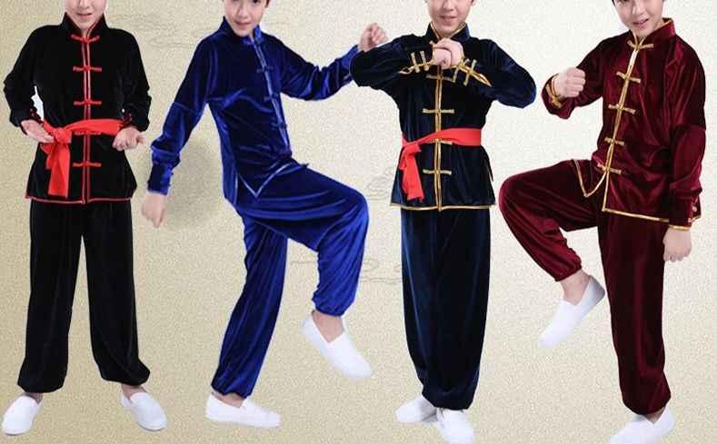 ユニセックス 4 色ブラック/ブルー/レッド秋/冬子供太極拳スーツ pleuche カンフー制服子供武道用セット