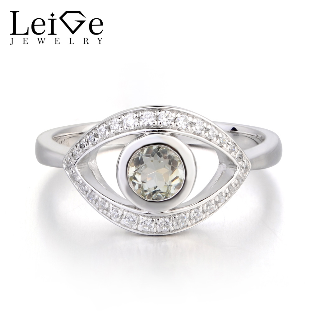 Leige Jewelry Real Natural Green Amethyst Ring Wedding Ring Round Cut Gemstone Anniversary Gifts 925 Sterling Silver for Women compos bc2020 omni directional laser barcode scanner