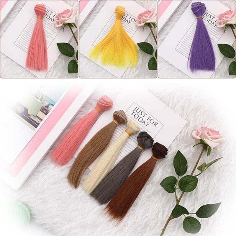 15*100 см кукла прямо парик синтетического волокна аксессуары для волос куклы парики высокотемпературный провод 1 шт.