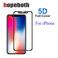 Top Quality Full Cover Screen Protector For iPhone X 8 7 6 5D Tempered Glass For iPhone6 7 8 Plus Protector Glass Film 50pcs/lot