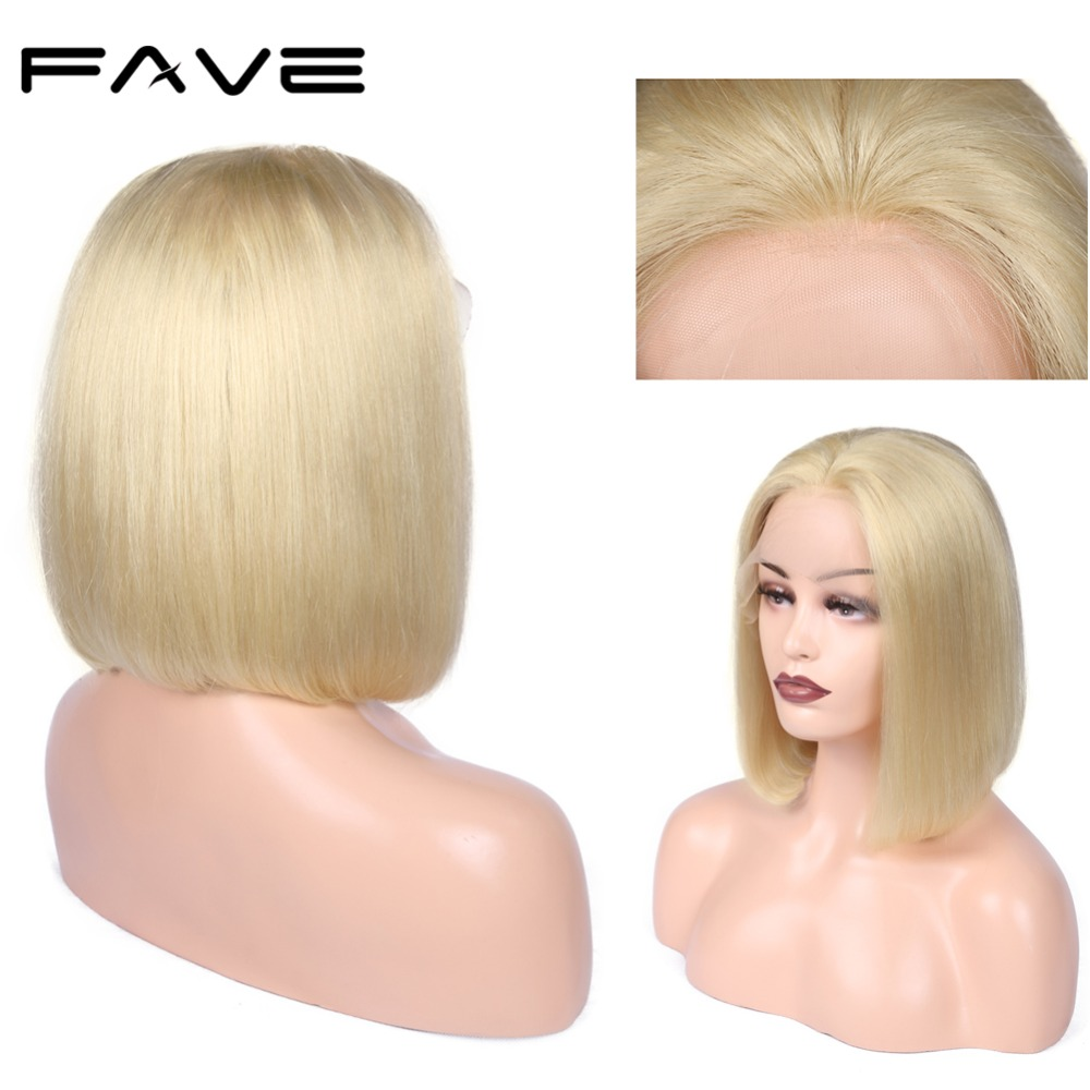 Lace Front Wig Straight BOB #613 Wig Brazilian Human Remy Hair Wigs 8-14 Inches Free Part Natural Hairline Free Gift FAVE Hair