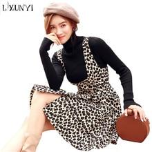 196f7e470eaf LXUNYI Women Spaghetti Leopard Dresses Inner Long Sleeve Sweater High Waist  Ladies Warm Winter A Line