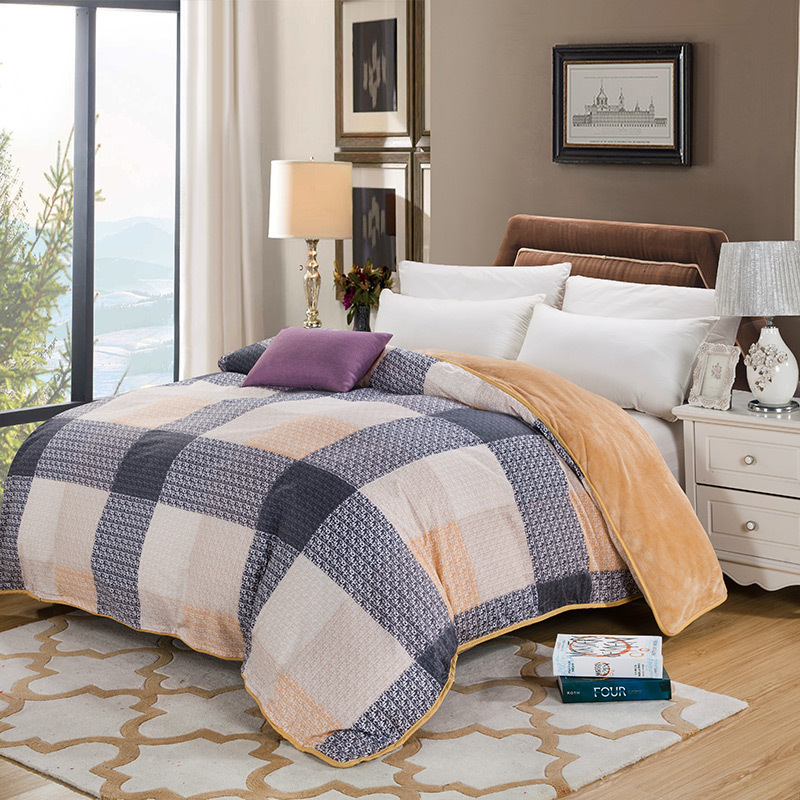 AB side bedding duvet cover Flannel Fleece + 100% cotton single Comforter cover 1pc prin ...