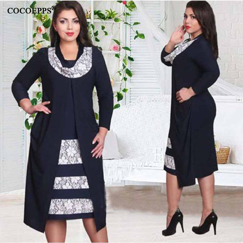 2017 de las mujeres del remiendo de la vendimia falso de dos piezas dress plus large oficina summer dress vestidos de la manera vestidos del tamaño grande 4xl 5xl 6XL