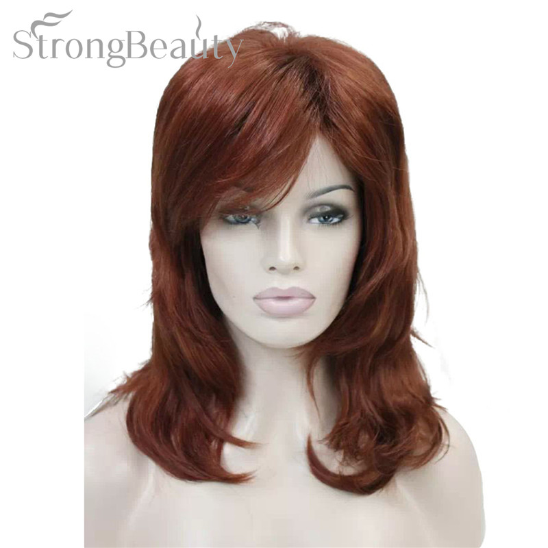 Strong Beauty Lady Blond Red Hair Synthetic Long Wavy Cosplay Wigs For Women image