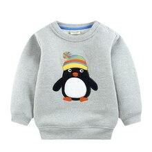 Fashional Toddler Kids Boys Cartoon Deer Penguin Patten Printed Casual Warm Clothes Long Sleeve Tops Fleece Winter Clothes