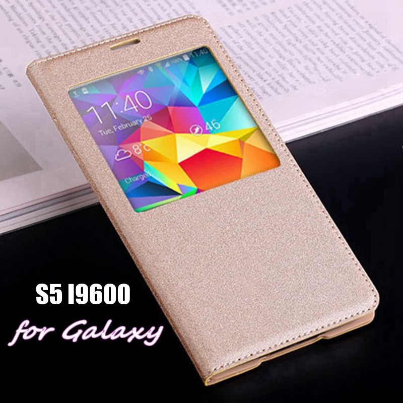Auto Sleep Wake Flip Cover Smart View Batterihölje med original chip för Samsung Galaxy S5 I9600 G900 G900F G900H G900M