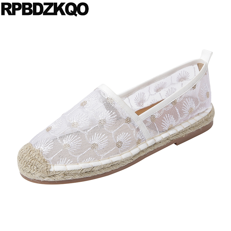 hemp white flats espadrilles black mesh round toe fashion glitter women breathable straw cheap shoes china sequin large size