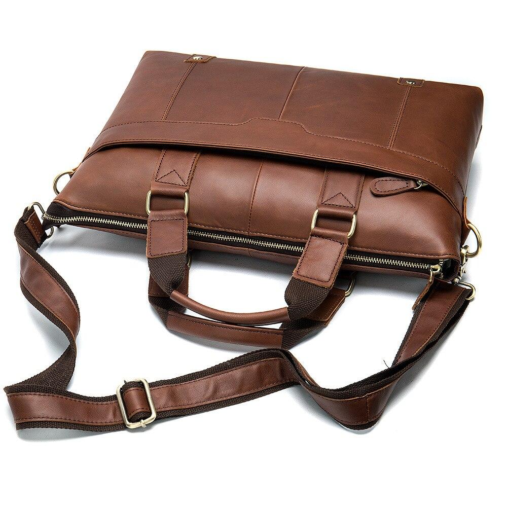 MVA Messenger Bag hommes sacs à bandoulière en cuir pochette d'ordinateur 14 pouces en cuir véritable hommes sacs pour Document travail sacs à main fourre-tout 7108 - 4