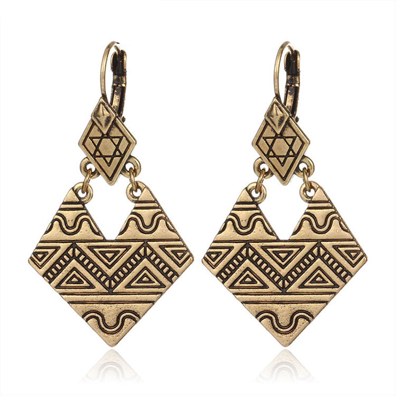 Classic Ancient Gold Color African Earrings Retro Metcl Alloy Jewelry Women Drop Dangle  ...