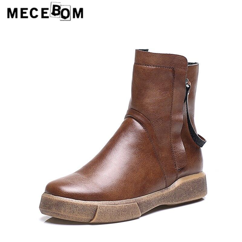 Women s leather boots fashion winter snow boot comfortable women plush warm shoes botas size 35