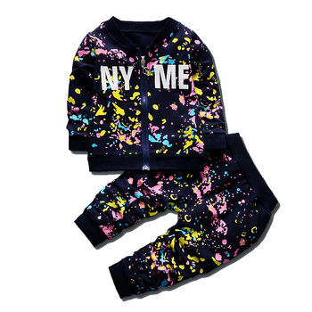 Spring Autumn Baby Boys Girls Print Ink Clothing Suits Children Jacket Pants 2Pcs/Sets Fashion Kids Clothes Toddler Tracksuits iyeal newest 2018 spring autumn baby girls clothes sets denim jacket tutu dress 2 pcs kids suits infant children clothing set