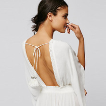 Plunging Neckline Lace Patchwork High Waist Backless Dresses