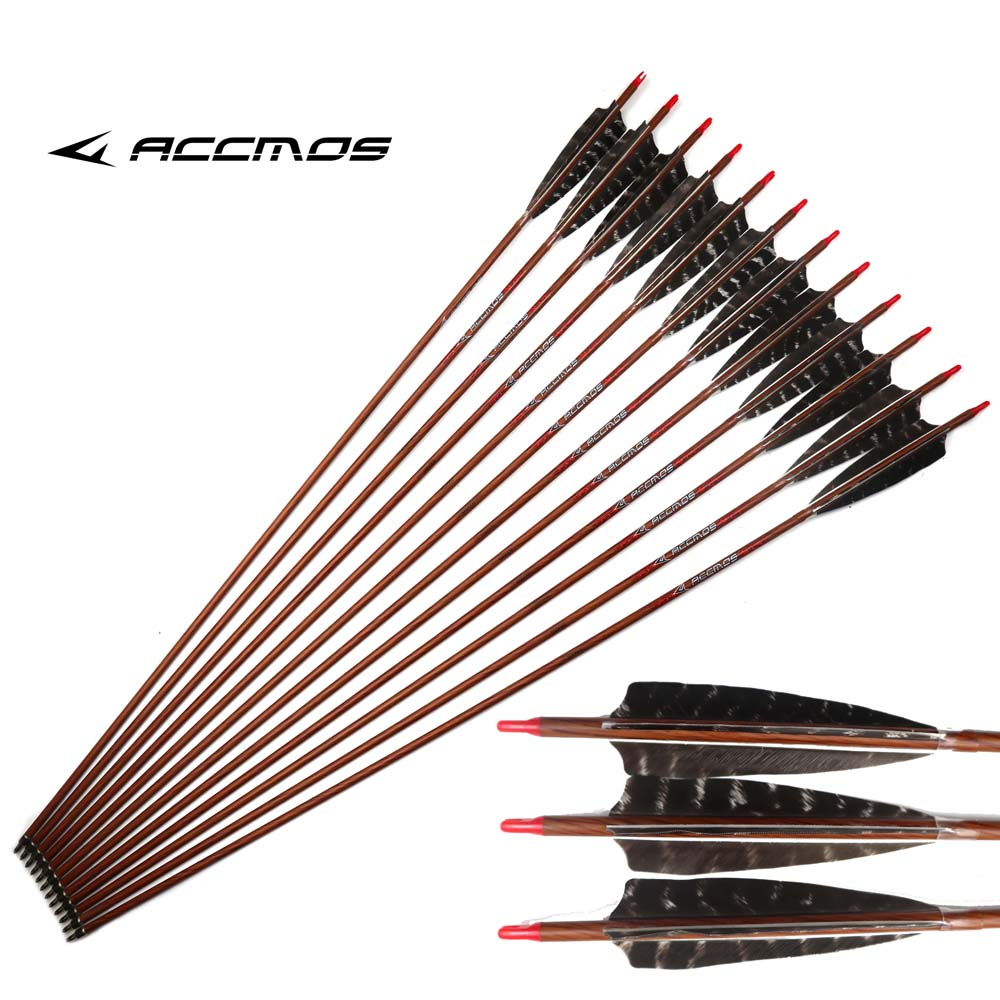 12pc 32 inch Wood Skin Carbon Arrows Spine 400 450 500 550 600 With 5 Real