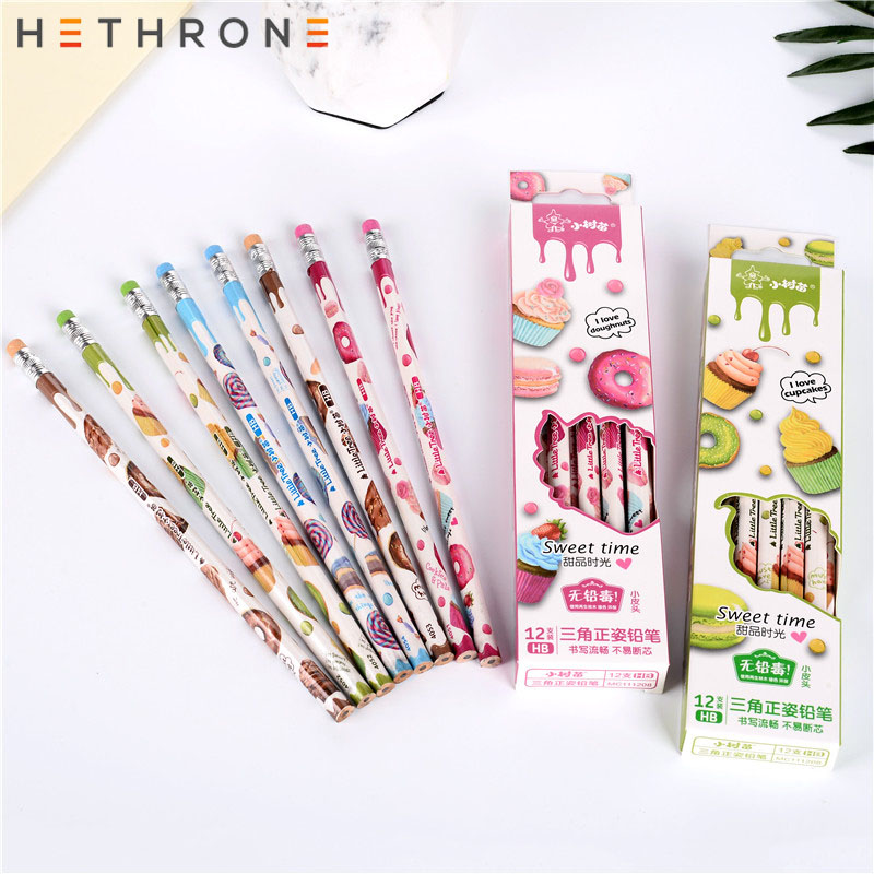 Hethrone 12pcs Donut Simple Pastel Pencil Set Student Pencils For School Cute Chancellory Writing Drawing Pencil Set Stationery