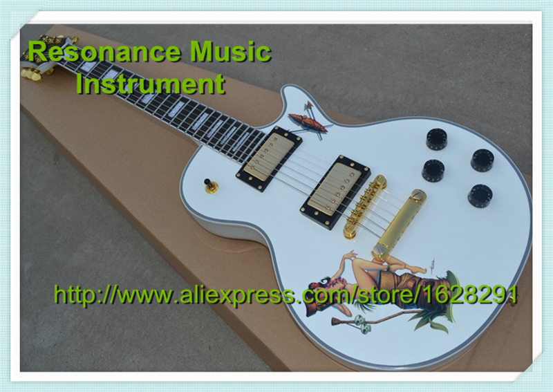 China Guitar Custom Shop LP Electric Guitar Alpine White with Ebony Fretboard Golden Hardware For Sale lp guitars black 1973 custom guitar yellow binding ebony fretboard end binded one piece neck mahogany free shipping