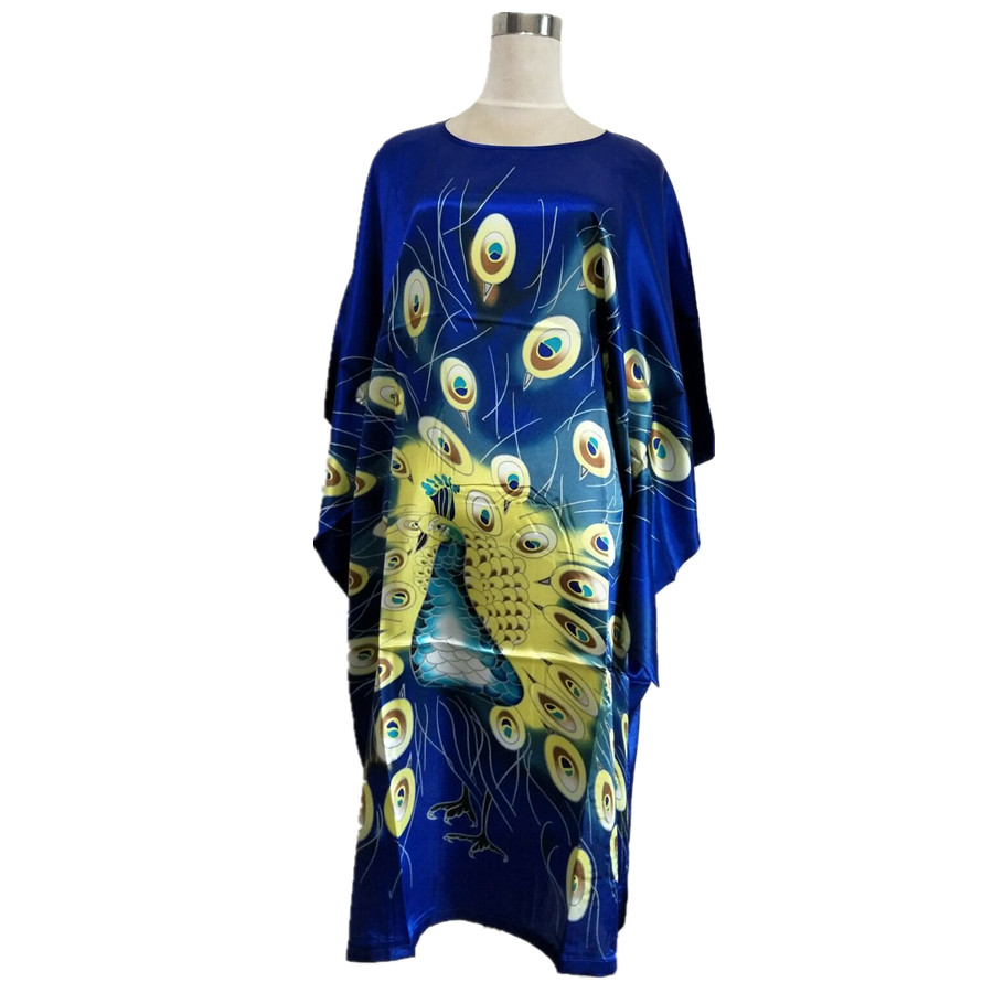 New Style Blue Ladies Rayon Robe Dress Vintage Print Yukata Bath Gown Summer Loose Women Sleepwear Nightgown One Size