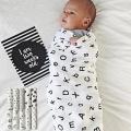120cm120cm Newborn Swaddling Muslin Blankets Bamboo Fiber Infant Bath Towel Black White Style For Summer 2 Layers