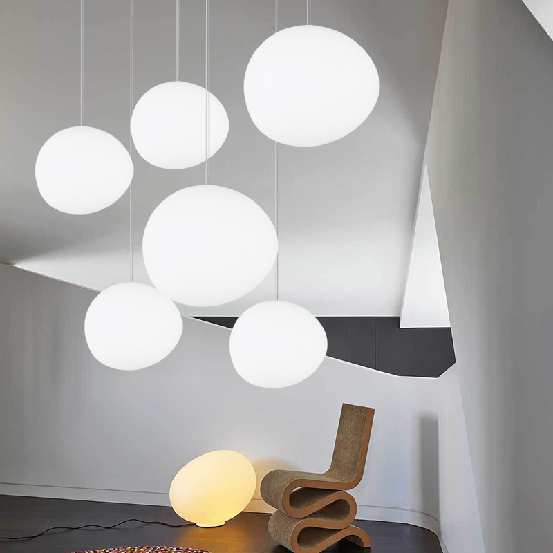 Italy Foscarini Gregg LED Pendant Lights White Glass Pendant Lamp Globe Egg Shade Living Room Kitchen Loft Hanging Light Fixture