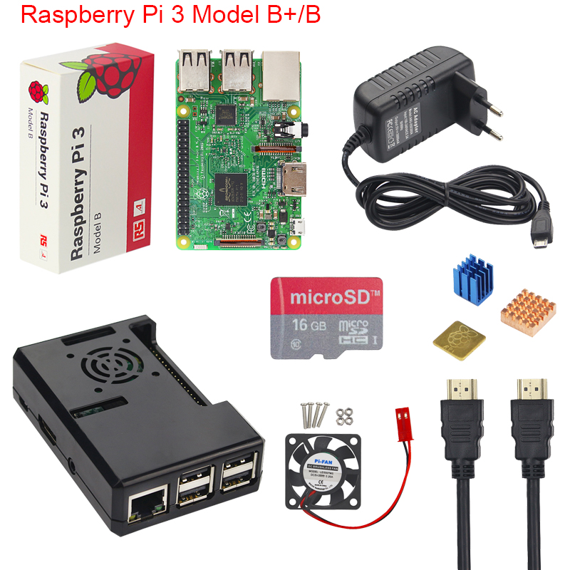 Raspberry Pi 3 Modell B + Plus Starter Kit + ABS Fall + 16 32 gb SD Karte + 3A power Adapter + Lüfter + Kühlkörper + HDMI Kabel
