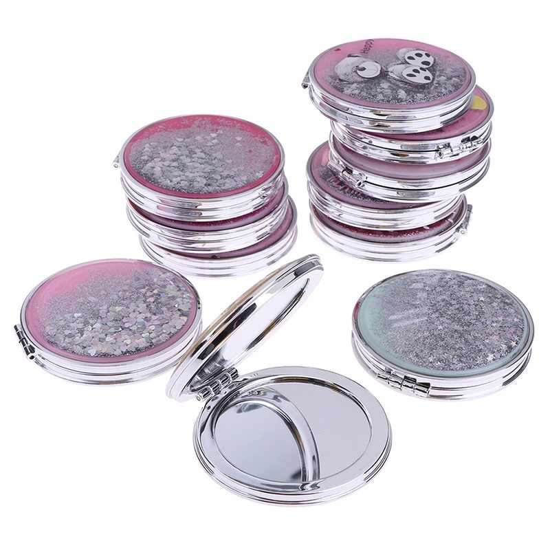 Portable Mini Makeup Mirror Compact Pocket Mirror Double-Sided Folding Cosmetic Mirror Female Gifts With Flowing Sparkling Sand