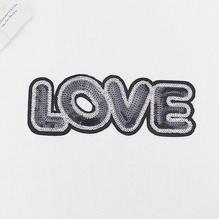 ୧ʕ ʔ୨Negro inglés amor Lentejuelas applique Encaje Telas applique ...