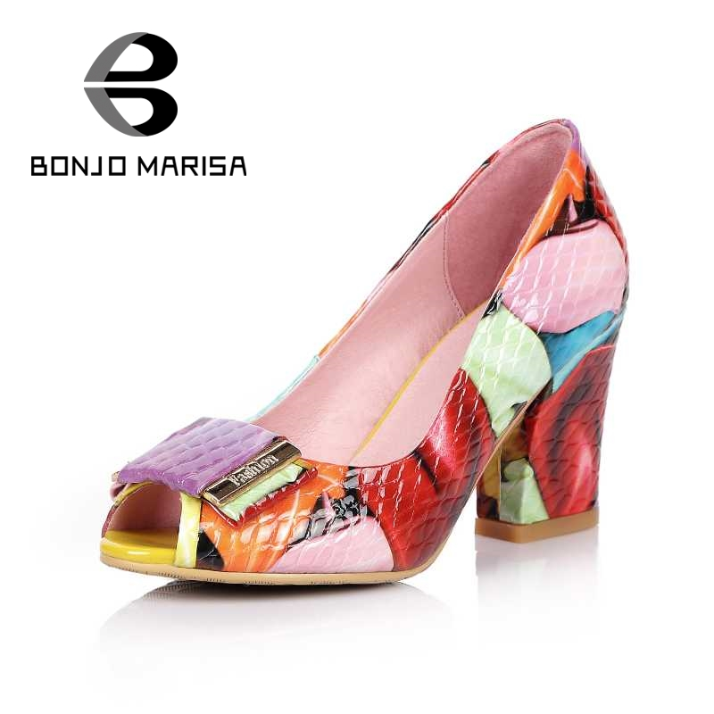 ФОТО BONJOMARISA Colorful Print Genuine Leather Women Pumps Bowtie Knot High Heel Shoes Woman Peep Toe Platform Shoes Big Size 33-44