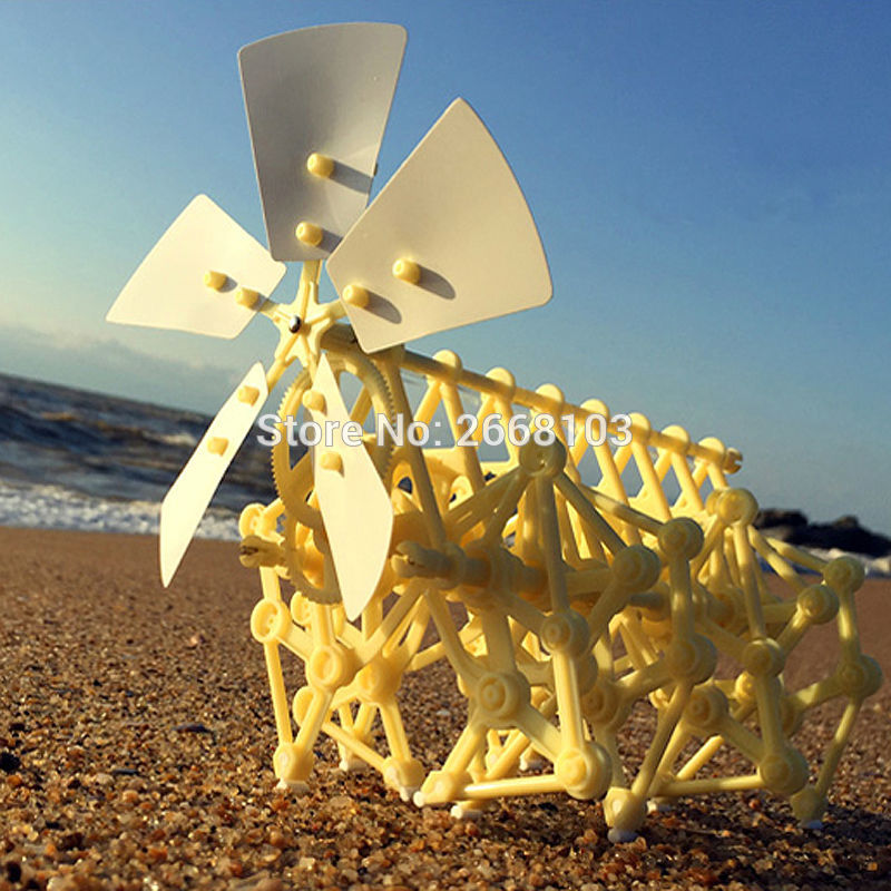 Hitra dostava Puzzle Walking Hot Prodaja DIY Strandbeest zbor Močan Model Wind Powered Walker Kits Robot Igrače Otroci Darila