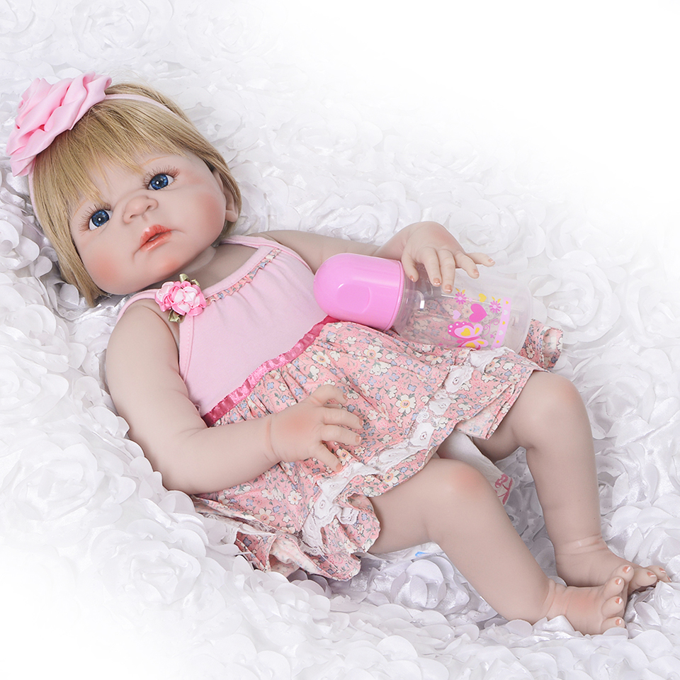Lovely 57 cm Full Vinyl Silicone Reborn Baby Dolls Girls Realistic Newborn Princess Doll 23 Inch Baby Toys Children's Day Gifts цена