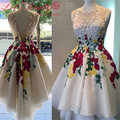 Real Photos Sheer Tulle White Short Cocktail Dresses 2017 Red Applique 3D Flowers Homecoming Dress For Saudi Arabia Vestidos De