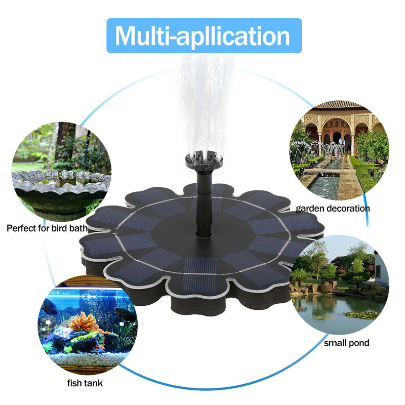 Image 4 - 2.5W Solar Fountain Watering kit Power Solar Pump Pool Pond Submersible Waterfall Floating Solar Panel Water Fountain For Garden-in Fountains & Bird Baths from Home & Garden