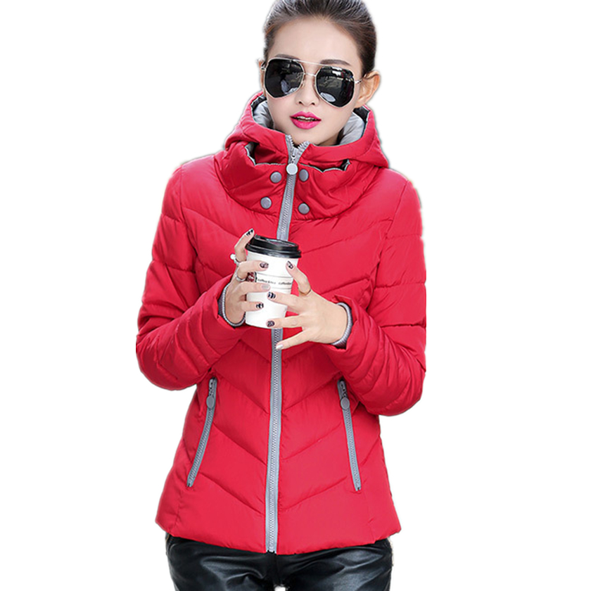 Winter Jacket Women Cotton Padded Short 2017 New Girls Slim Hooded Warm Parkas Button Collar Coat Female Autumn Outwear C76007M mozhini winter jacket women cotton short jacket girl padded slim hooded warm parkas fake fur collar coat female autumn outwear