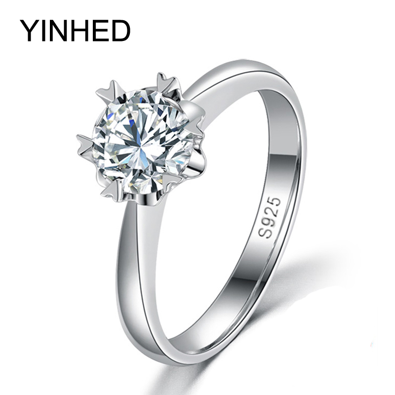 yinhed 2017 flower wedding rings for women 925 sterling silver 2 - Flower Wedding Rings