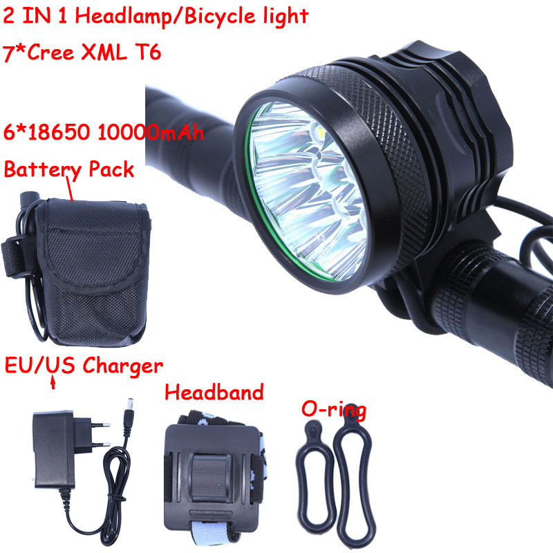 2 IN 1 Led Headlamp Headlight BIke Light 7* XM-L T6 3 Modes 10000LM Bicycle Light With 6*18650 Battery Pack + Charger t6 bicycle light headlight 1800 lumens 3 mode waterproof bike front light led headlamp 2 18650 4200mah battery charger