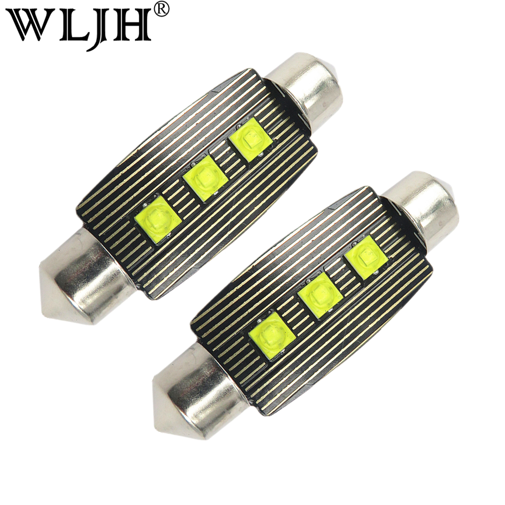 WLJH 2x Car Festoon 41mm LED Interior Light Dome Lamp Auto Map Roof Cargo Trunk Over Head Lamp Bulb For Cadillac SRX Escalade